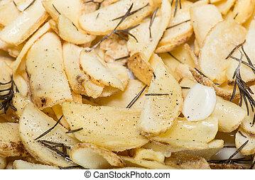 affettato, patate, cotto, in, il, forno