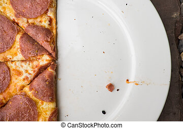 affettato, piastra, bianco, pizza, salame