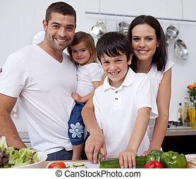 affettuoso, cottura, giovane famiglia, insieme