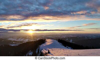 affichage montagne, aérien, hiver, coucher soleil
