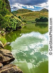 affichage montagne, lac, été