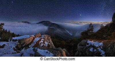 affichage montagne, nuit, landcape, panoramique