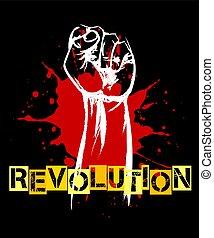 affiche, élevé, révolution, retro, poing