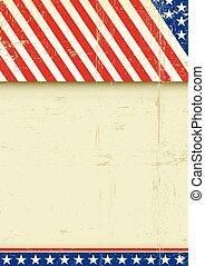affiche, américain, grunge, drapeau
