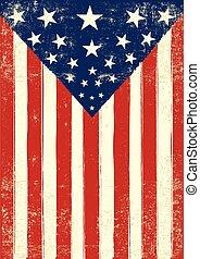 affiche, américain, grunge, retro