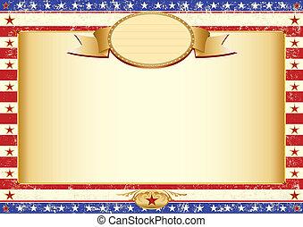 affiche, américain, kraft