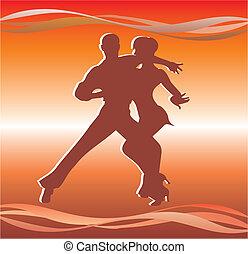 affiche, américain, latin, danses