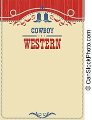 affiche, américain, text., cow-boy