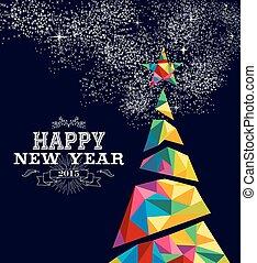 affiche, arbre, conception, année, 2015, nouveau