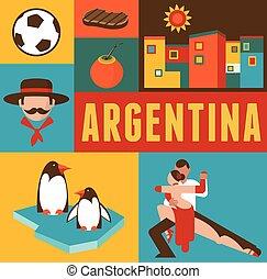 affiche, argentine, ensemble, fond, icônes