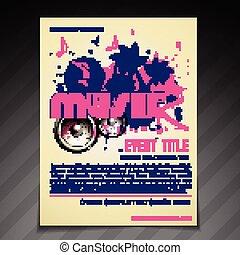 affiche, aviateur, conception, gabarit, brochure, musique