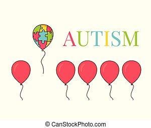 affiche, balloon, autism, conscience