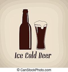 affiche, bière froide, glace