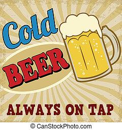 affiche, bière froide, retro