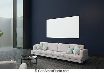 affiche, blanc, salle moderne, vide
