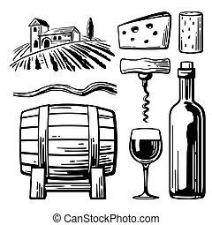 affiche, bouchon, paysage, vendange, villa, vignoble, vigne, noir, tire-bouchon, blanc, icône, hills., toile, étiquette, illustration, verre, baril, champs, vecteur, rural, bouteille, cheese.