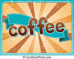 affiche, café, style., retro, tasse
