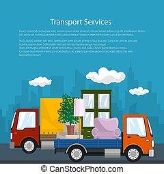 affiche, camion, meubles, camion, couvert