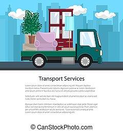 affiche, camion, route, meubles