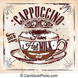affiche, cappuccino, kraft
