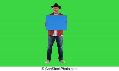 affiche, chapeau, vide, paysan, personne agee, key., chroma, écran, vert, tenue