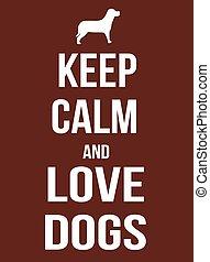affiche, chiens, amour, calme, garder