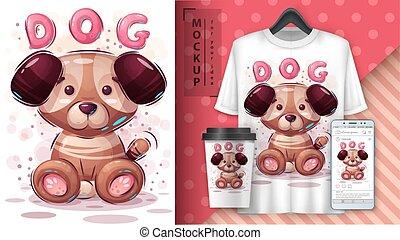 affiche, chiot, merchandising., dog.