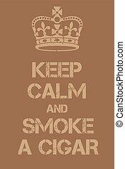 affiche, cigare, calme, fumée, garder