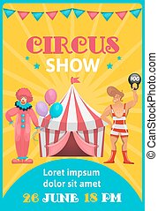 affiche, cirque, coloré, exposition