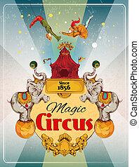 affiche, cirque, retro