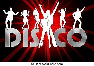 affiche, coloré, disco