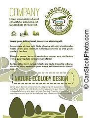 affiche, compagnie, vecteur, landscaping, nature
