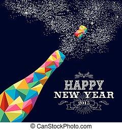 affiche, conception, bouteille, année, 2015, nouveau, champagne