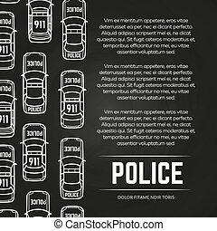 affiche, conception, police, tableau, voitures