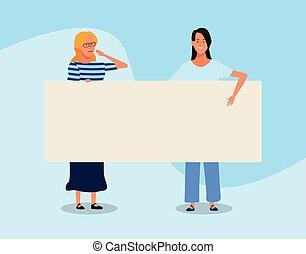 affiche, conception, vide, coloré, dessin animé, femmes