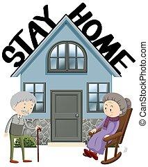affiche, coronavirus, conception, thème, rester, vieux, maison, gens