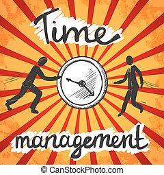 affiche, croquis, gestion, temps