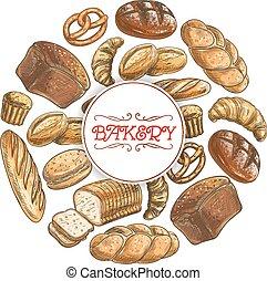 affiche, croquis, vecteur, boulangerie, pain