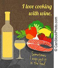 affiche, cuisine, vin