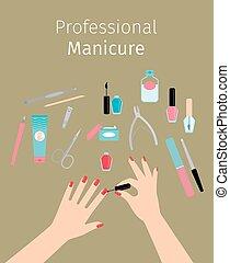 affiche, dames, professionnel, manucure, mains