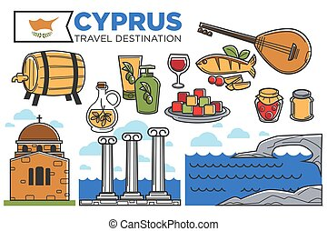 affiche, destination voyage, promotionnel, symboles, pays, chypre