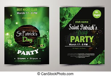 affiche, disco, affiche, vacances, saint, irlandais, patrick, s, fête, day., nuit