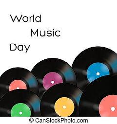 affiche, disques, vecteur, musique, vinyle, fond, blanc