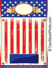 affiche, drapeau américain