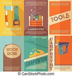 affiche, ensemble, charpenterie