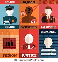 affiche, ensemble, punition, crime