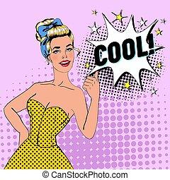 affiche, femme, art, pouce, épingle, bubble., vendange, comique, banner., haut, pop, joyeux, signe., vecteur, poser, illustration, affiche, parole, girl, blond, publicité