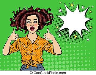 affiche, femme, art, pouce, épingle, bubble., vendange, signe., banner., haut, pop, joyeux, vecteur, poser, illustration, joli, affiche, parole, girl, comique, publicité
