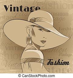affiche, femme, mode, jeune, retro