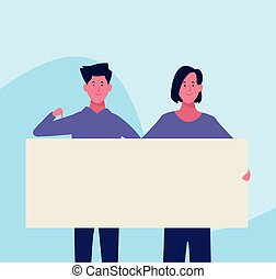 affiche, femme, vide, homme, dessin animé